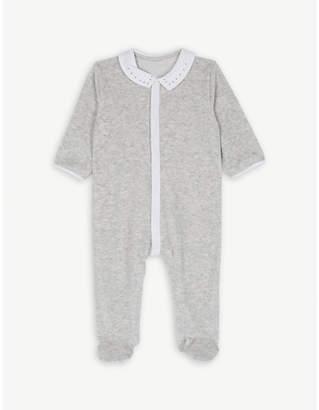 Petit Bateau Star collar velour babygrow newborn-12 months