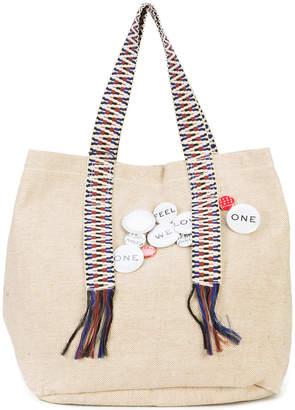 Schumacher Dorothee pin embellished canvas tote bag