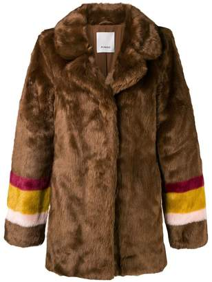 Pinko striped sleeves fur jacket