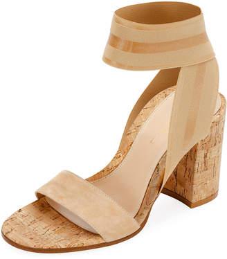 Gianvito Rossi Stretch-Strap Cork Sandals
