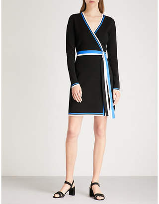 Diane von Furstenberg Striped-trim stretch-crepe wrap dress