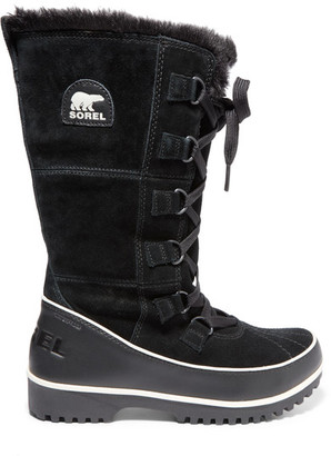 Sorel - Tivoli High Ii Waterproof Suede And Leather Boots - Black $150 thestylecure.com
