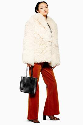 Topshop Patched Shearling Coat