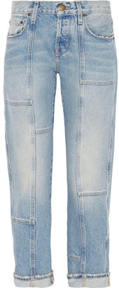 Current/Elliott - The Patchwork Crossover Mid-rise Straight-leg Jeans - Mid denim $250 thestylecure.com