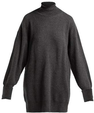 Maison Margiela Oversized Elbow Patch Wool Roll Neck Sweater - Womens - Dark Grey