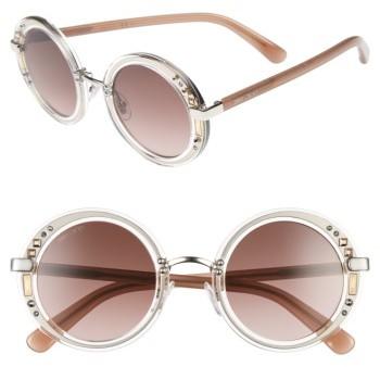 Jimmy ChooWomen's Jimmy Choo Gems 48Mm Round Sunglasses - Crystal/ Palladium/ Brown