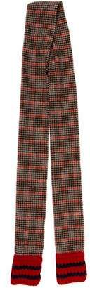 Gucci Web-Trimmed Houndstooth Wool & Cashmere Scarf