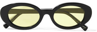 Mckinley Oval-frame Acetate Sunglasses - Black