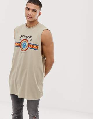 Asos DESIGN oversized super longline sleeveless t-shirt with dropped armhole and emblem print