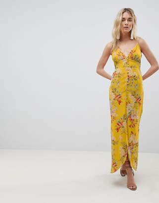 Hope And Ivy Hope & Ivy Cami Strap Button Front Maxi Dress With Cutout Back In Floral Print