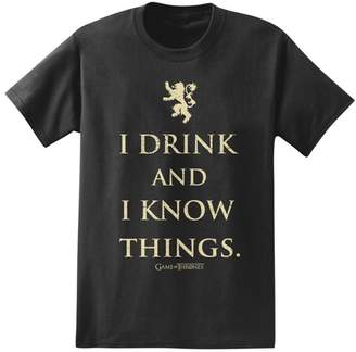Game of Thrones Men's I Drink And Know Things T-Shirt - Black $12.99 thestylecure.com