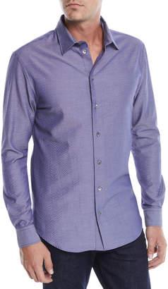 Emporio Armani Men's Seersucker Sport Shirt, Blue/Gray