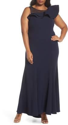 Eliza J Asymmetrical Ruffle Crepe Gown