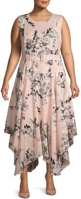 Calvin Klein Plus Sleeveless Belted Floral Handkerchief-Hem Dress