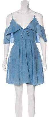N. Nicholas Ruffled Chambray Dress