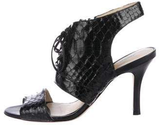 Alexandre Birman Snakeskin Lace-Up Sandals