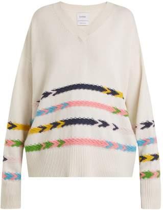BARRIE Summer Sailor V-neck cashmere sweater