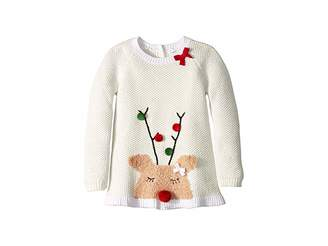 Mud Pie Reindeer Ruffle Christmas Sweater (Infant/Toddler)
