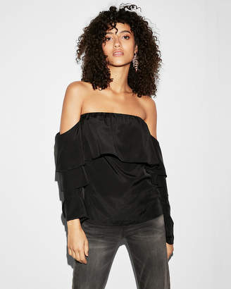 Express Ruffled Off The Shoulder Tiered Sleeve Blouse