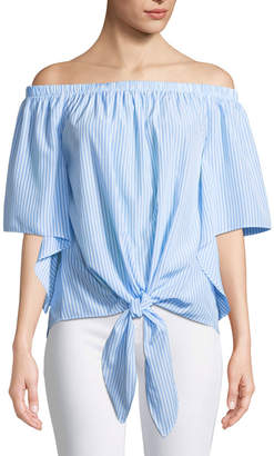 Neiman Marcus Off-The-Shoulder Cape-Sleeve Tie-Front Blouse