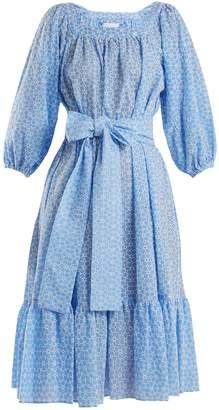 Lisa Marie Fernandez Floral-embroidered balloon-sleeve cotton dress
