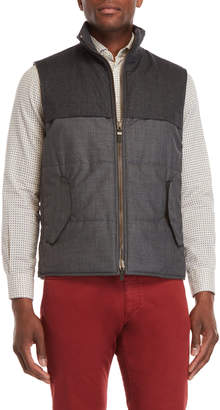 Luciano Barbera Wool Flap Pocket Zip Vest
