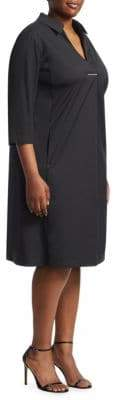 Lafayette 148 New York Lafayette 148 New York, Plus Size Zac Split V-Neck Pocket Dress