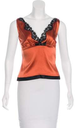 Miguelina Silk-Trimmed Sleeveless Top