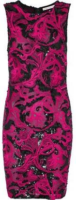 Alice + Olivia Nat Sequin-Embellished Embroidered Tulle Mini Dress