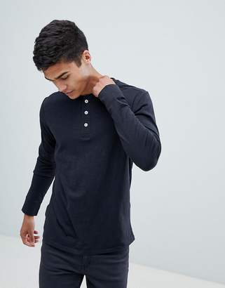 Selected Long Sleeve T-Shirt With Henley Neck