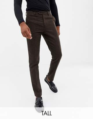 Gianni Feraud Tall slim fit brown donnegal wool blend suit pants