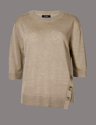 Marks and Spencer Linen Rich Textured 3/4 Sleeve Jumper