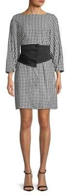 Tibi Gingham Corset Mini Dress