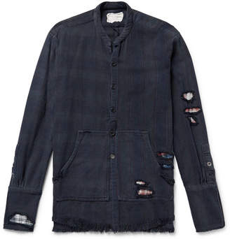 Greg Lauren Slim-Fit Distressed Patchwork Striped And Checked Cotton-Twill Shirt