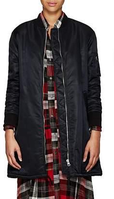 VIS A VIS Women's Faux-Fur-Lined Long Bomber Jacket - Black