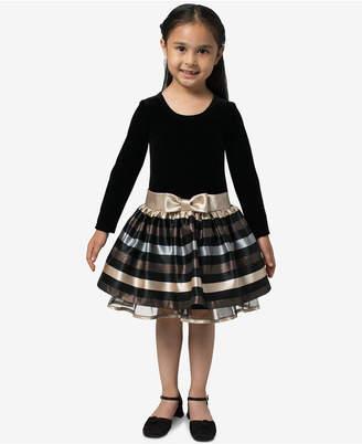 Bonnie Jean Little Girls Velvet Jacquard Striped Dress