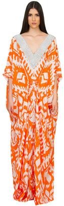 Caffe Swimwear - Long V-Neck Kaftan Dress In Orange $595 thestylecure.com