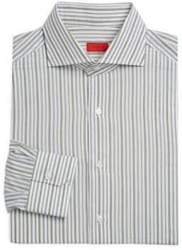 Isaia Uneven Stripe Cotton Dress Shirt