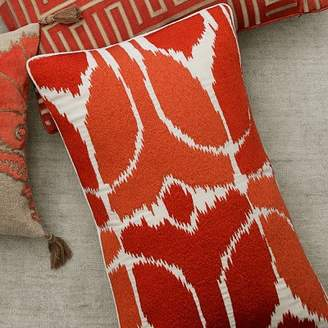 Williams-Sonoma Williams Sonoma Embroidered Ikat Lumbar Pillow Cover, Coral