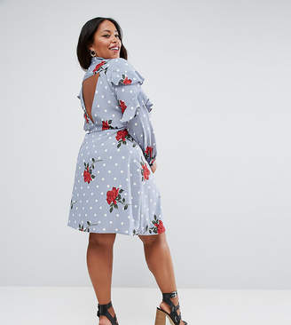 Asos Ruffle Front Shirt Dress in Spot and Floral Print