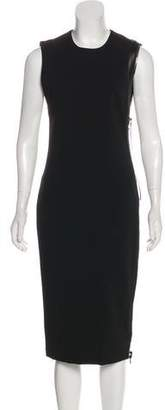 Tom Ford Leather-Trimmed Midi Dress