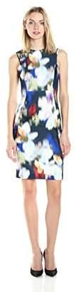 Calvin Klein Women's Round Neckline & Square Armhole Printed Scuba Sheath Dress