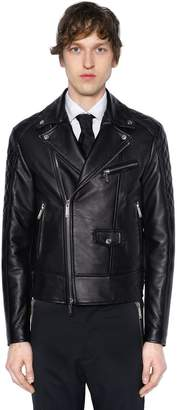 DSQUARED2 Chiodo Quilted Sleeves Leather Jacket