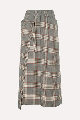 Joseph Beck Checked Wool Midi Skirt - Gray