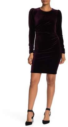 Modern American Designer Ruched Velvet Long Sleeve Dress