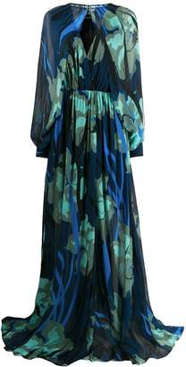 Just Cavalli floral print gown with removable sleeve bolero