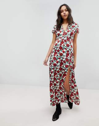 WYLDR Wyldr Rose Printed Maxi Dress With Capped Sleeves And Deep V Neckline