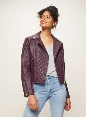 Miss Selfridge Burgundy quilted leather look biker