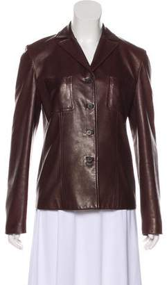 Calvin Klein Collection Leather Notched-Lapel Jacket