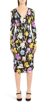Dolce & Gabbana Iris Print Ruched Stretch Silk Dress